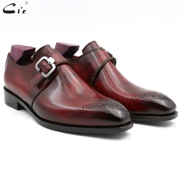 cie Kare Düz Burun Tam Tahıl Hakiki Buzağı Deri Custom Blake Dikiş Erkekler Elbise Monk sapanlar Ofisi Ayakkabı Erkekler Şık