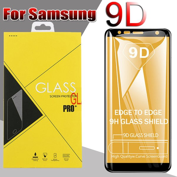 9D Full Cover Tempered Glass Curved Edge Screen Protector For iPhone XS Max XR X 8 7 Plus Samsung Galaxy S10 E M20 M30 A40 A50 A60 With Box