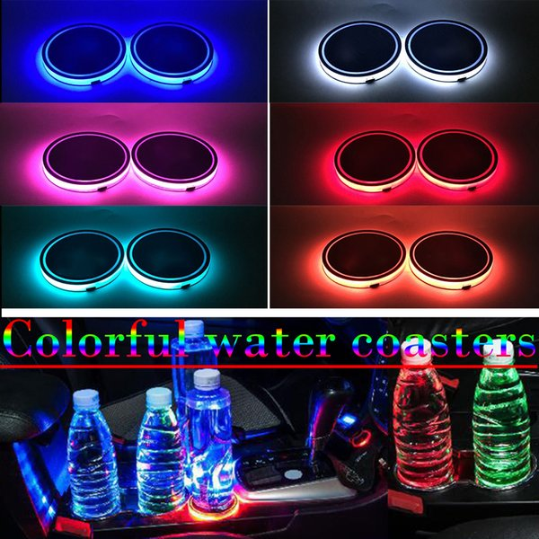 2pcs Led Car Cup Holder logo Light For Toyota Nissan Ford BMW Mercedes Audi Jeep USB Charging luminous coaster Accessories