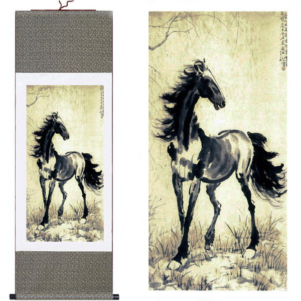 Traditional Chinese Art Painting Horse Silk Scroll Art Painting Horse Image
