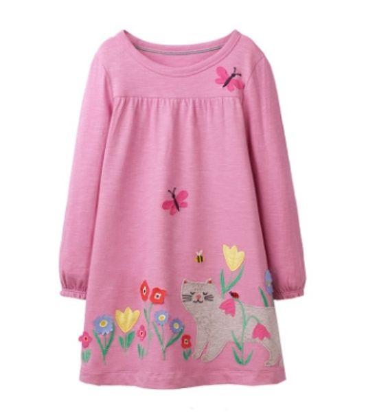 Cross border source European and American style children's skirt wholesale autumn girl's dress cartoon round neck long sleeve princess skirt