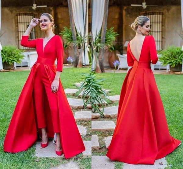 Rote Overalls Abschlussballkleider 3/4 lange Hülsen V Ansatz formale Abend-Party Kleider Preiswerte Hosen der speziellen Gelegenheit