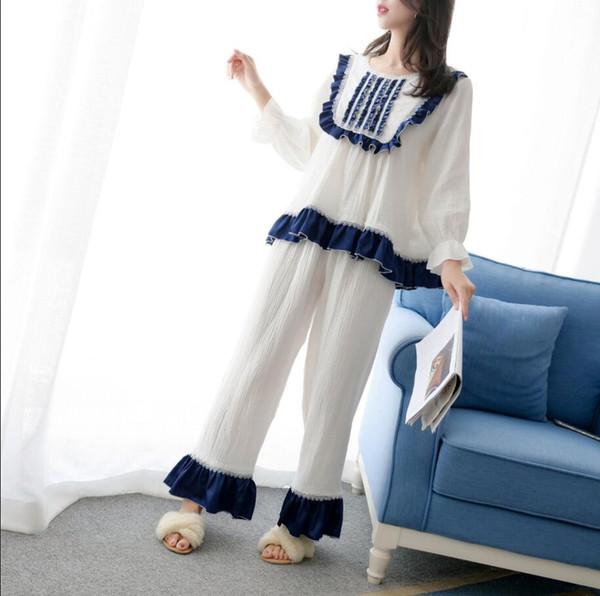 Envío gratis 2019 New Fall Princess Pijamas de mujer Pantalones largos Conjunto de dos piezas 6 colores Ropa de dormir Pijamas de algodón
