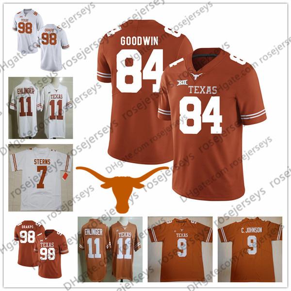 NCAA Texas Longhorns #46 Malik Jefferson 84 Marquise Goodwin 98 Brian Orakpo 33 Tim Yoder Brunt Orange White Men Youth Kid Football Jersey