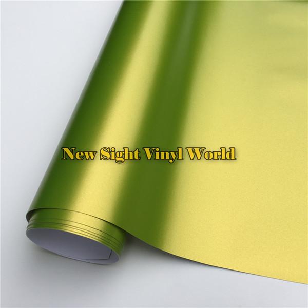 Película de vinilo fundida de primera calidad Satén Verde limón Limón Cromado Envoltura de vinilo Lámina Película de envoltura de coche libre de burbujas de aire Calcomanía