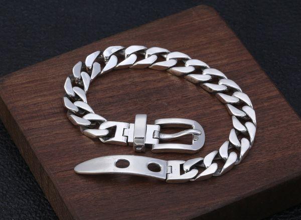 Стерлингового серебра 925 мужские женщины любители пряжки ремня браслет Браслет ювелирные изделия A4246