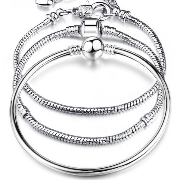 top popular Charm Bracelets 925 Sterling Silver 3mm Snake Chain Fit Pandora Charms Bead Bangle Bracelet Fashion Jewelry DIY Bangle For Men Women 2021