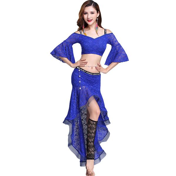 Bellydance traje de encaje sexy danza del vientre conjunto para las mujeres de manga acampanada gitana práctica trajes de baile ropa de baile exótica dc1284