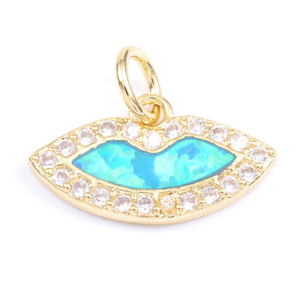 Singreal Opal Micro Pave Lips Charms Bracelet necklace Choker Pendant connectors for women DIY Jewelry making accessories