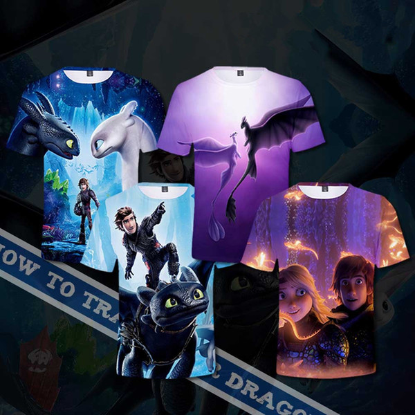 6styles How To Train Your Dragon 3 T-shirt kids adult cartoon printed Short Sleeves Tee Tops drangon T-shirt home casual clothes FFA1701