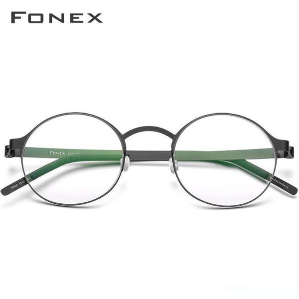 Fonex Vintage Yuvarlak Gözlük Çerçeveleri Erkekler Vidasız Gözlük Optik Reçete Kore gözlükler Kadınlar 98626