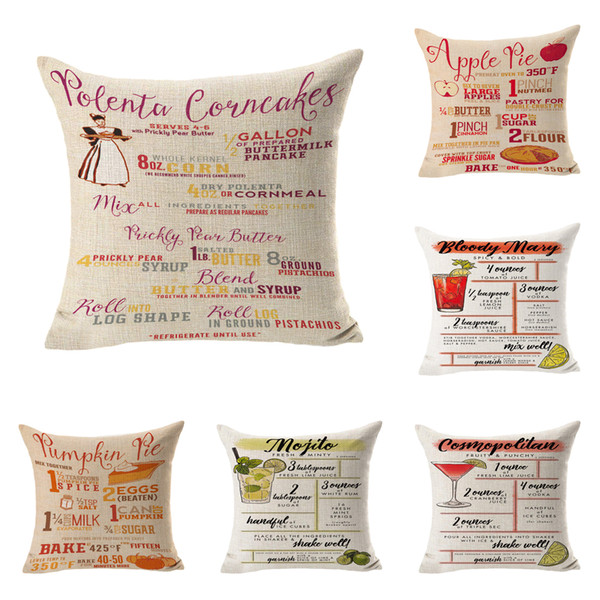 Food & Beverages Illustrations Throw Massager Pillow Case Decorative Pillows Warm Home Decor Vintage Gift