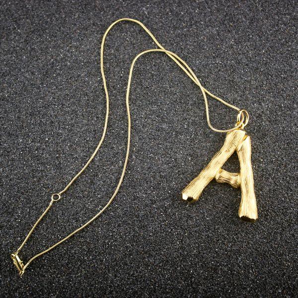Женщина золото письмо кулон ожерелье дизайнер ювелирных изделий роскошный дизайн женщин 14 K золото ожерелье подвески чешские ювелирные изделия