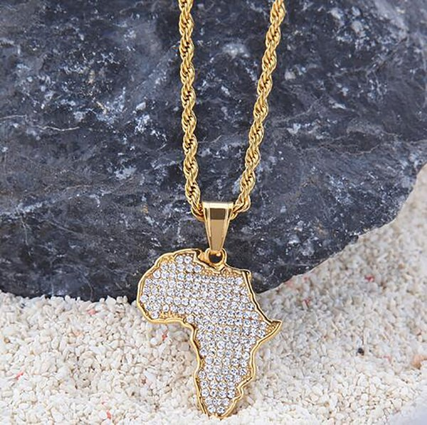 18k Gold Plated Iced Out Africa Map Pendant Stainess Steel Necklace with 3mm 24inch Rope chian