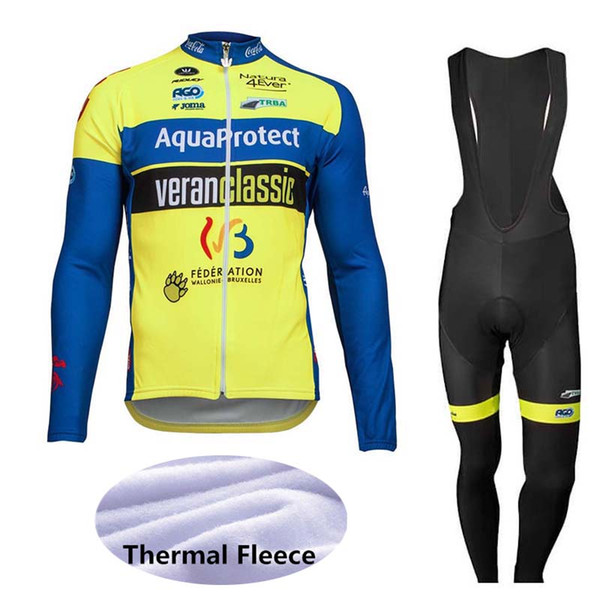 Aqua Protect Veranclassic team Mens Long Sleeves Bike Clothes outdoor Bicycle Cycling Winter Thermal Fleece Jersey bib pants sets Q81318