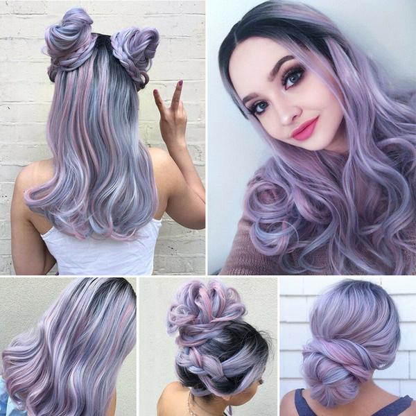 Détails sur Mesdames Perruque Teinture Pourpre Long Synthétique Perruques de Cheveux Ondulés