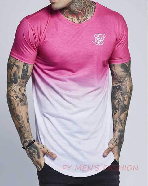 Hommes T-shirts Ss Sik Soie Kanye West Noir Bleu Casual Hip Hop T-shirts Manches Courtes Irrégulier Plus La Taille M-2XL