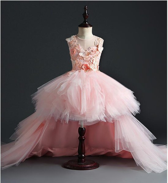 Long Trailing Baby Girl Dress Pink Tulle Baptism Dress 1 Year Birthday Party Christening Gown Infant Clothing Bebes Vestido J190528