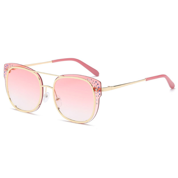 New top quality brand fashion designer sunglasses square frame with diamond popular style uv400 protection glasses female cat eye sunglasses