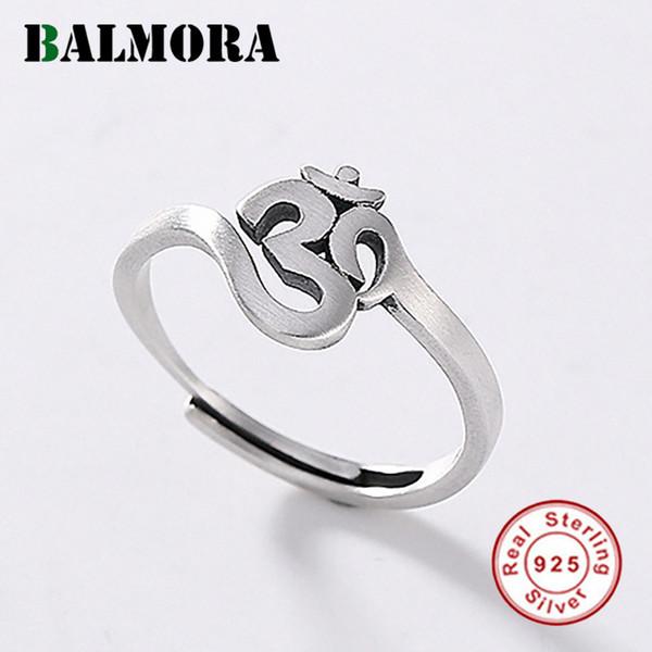 Anelli Balmora 925 Buddismo Sterling Silver Scrittura di Open Stacking anelli per le donne degli uomini di dichiarazione dell'annata Anelli gioielli di moda