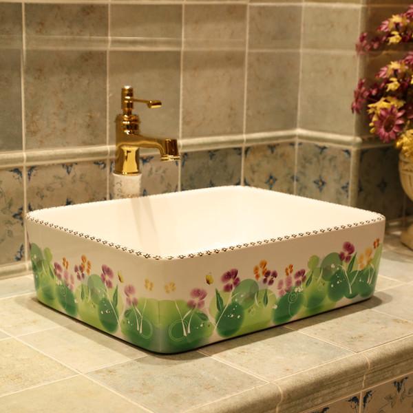 Rettangolare Jingdezhen basin contatore di sanitari arte lavabo lavabo Bathroom sink affonda cinese lavelli arte ceramica