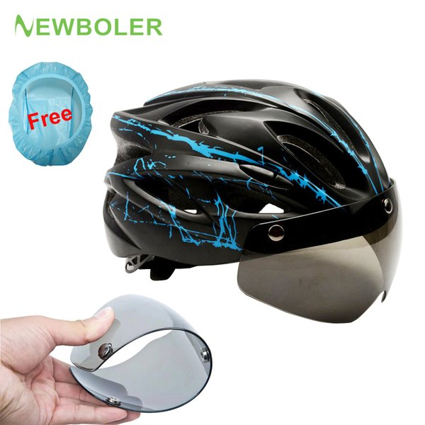 NREBOLER Sport Cycling Helmet Goggles Men Women Cover Ultralight MTB Road Bike Bicycle Helmet Glasses Magnetic Suction Lens Blue