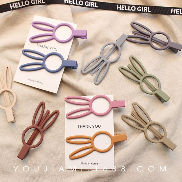 INS super cute rabbit hairpin Korean texture scrub side clip bangs clip duckbill clip hairpin hair accessories headdress female