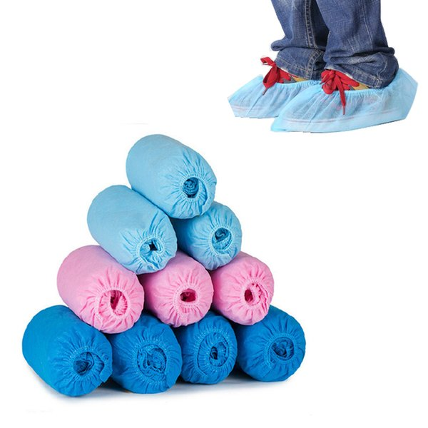 100pcs Pack Disposable Shoes Cover Non-slip Thicken Disposable Shoes Covers Dustproof Non-woven Elastic Bands Home Foot Cover DH1175