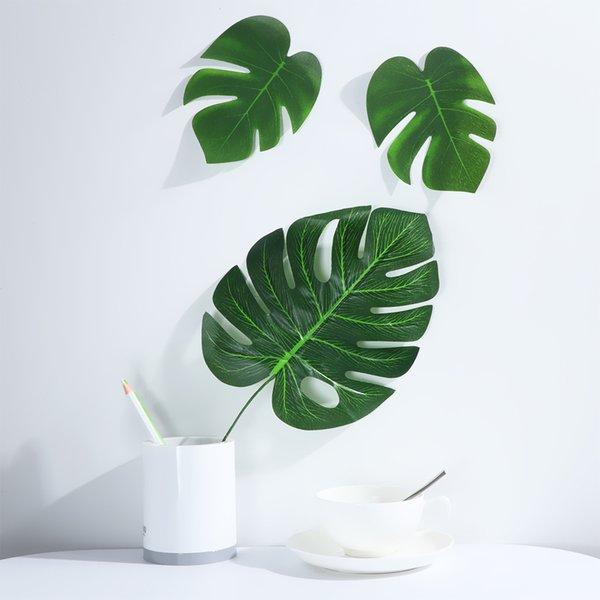6/12 pezzi taglia S / M / L foglie di palma tropicali artificiali foglia di simulazione fai da te decorazione della tavola della festa nuziale forniture