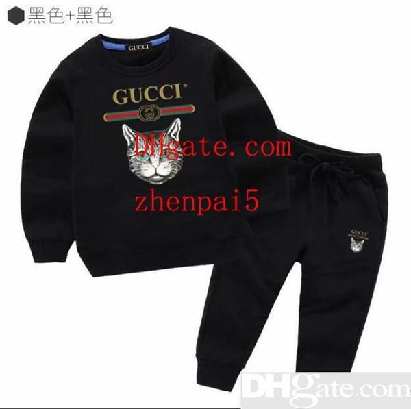 Crianças Camisas Calças Pretas Conjuntos 2PCS Valentine s Day Meninos Outfits Primavera Kids Clothing