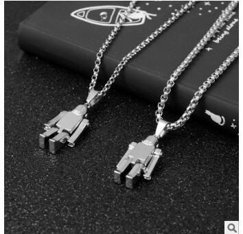 Robot necklaces spaceman hip hop nightclub jewelry punk necklaces sweater chains cheap party birthday gifts 580