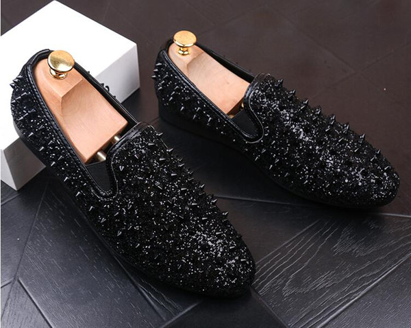factory brand men shinny glitter gold and silver spikes shoes slip on loafers rivets men casual shoes