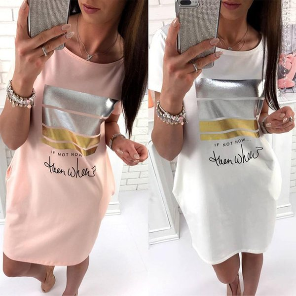 Summer Casual Women Letter Print Short Dresses With Pockets 2019 New Loose O-Neck Women Dress Short Sleeved Plus Size Clothing