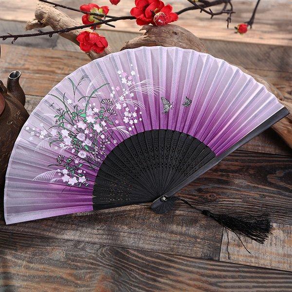 200Pcs Women Folding Fans Cherry Blossoms Bamboo Hand Fan Silk Fan Tabletop Decor Arts And Crafts
