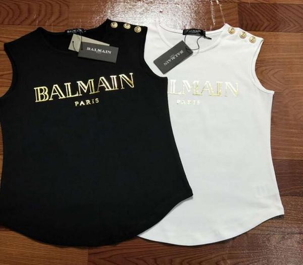 19SS moda para hombre Diseñador Camisetas del chaleco de las mujeres de París Oro hebilla T camisa mujer algodón Camisetas sin mangas de las mujeres Tops Tees