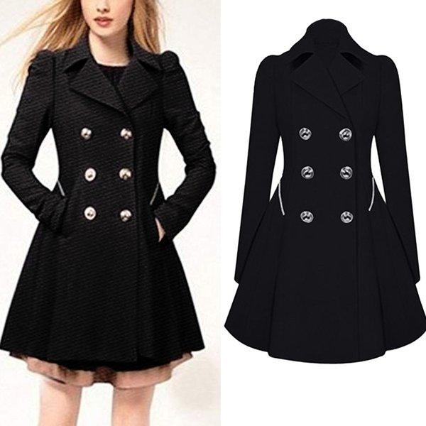 manteau femme hiver wintermantel frauen Warme Damen Revers Stilvolle Lange schwarze Parka Mantel Trench Outwear Jacke casaco feminino 3xl