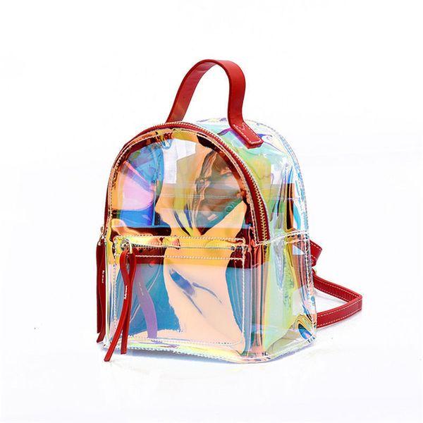 f55223a581a9 хорошее качество женщины ясно рюкзак прозрачный лазерные сумки для Моды  девочек-подростков Леди ПВХ школьные плечи сумка рюкзак ноутбук мешок