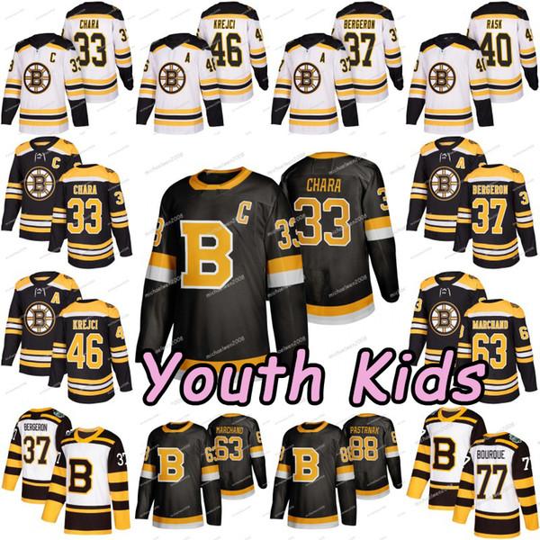 Youth kid 2019 bo ton bruin bergeron brad marchand david pa trnak krejci torey krug tuukka ra k zdeno chara charlie mcavoy hockey jer ey, Black;red