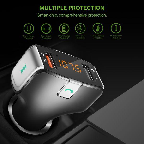 Transmetteur FM de voiture sans fil de 87,5 à 108 Mhz Bluetooth appelant auto multifonctions HiFi stéréo lecteur MP3 2 ports chargeur rapide