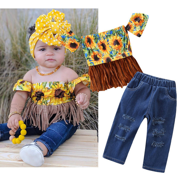 Fashion children's clothing baby Girls Set Summer Sunflower Word Shoulder Tassel Top + Jeans kids t shirt trousers suit