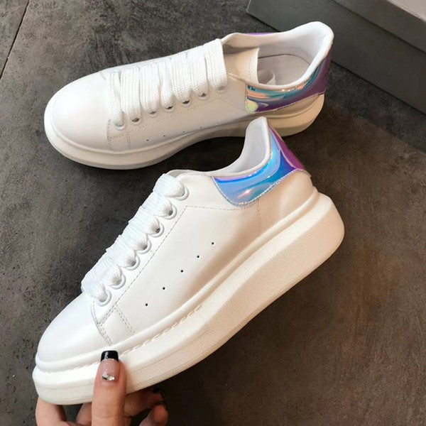 Laser Patchwork Heel Women Sneakers White Tennis Shoes Plus Size Woman Genuine Leather Casual Shoes Platform Lace-up Flats Shoes