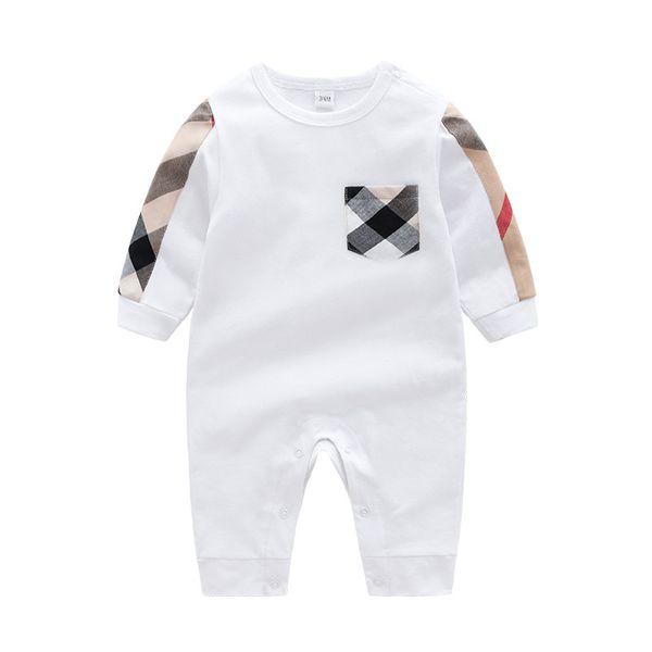 Neugeborene Baumwollgitter-Spielanzug 2 Farben des Säuglingsjungenplaidspielanzugbaby-runden Kragens langärmlige Overalldesignerkleidung