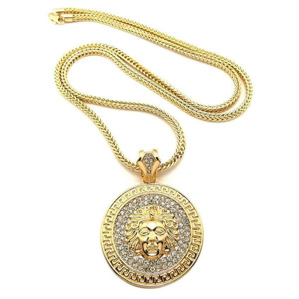 Mens Hip Hop Long Necklace Jewelry Gold Slver Chains Medusa Avatar Iced Out Necklace Diamond Pece Pendant Designer Necklaces Women Men