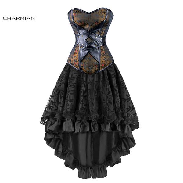 Charmian Mujeres Sexy gótico victoriano Steampunk corsé vestido de cuero Overbust corsés y Bustiers falda partido de la cintura TrainerQ190401