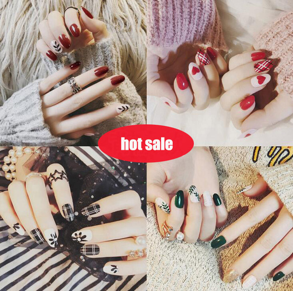 top popular Tatyking 22 Styles Fake Nails 24 pcs lot Women Finger Nail False Nails With Glue Cute Designs for DIY MJ0067 2019