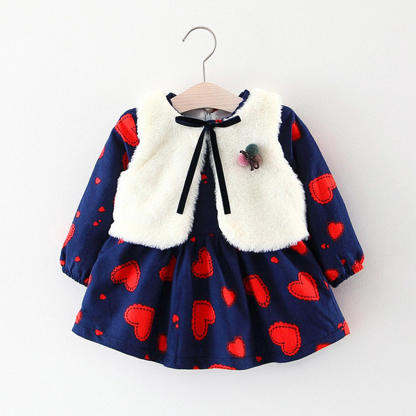 good quality Newborn Baby Girls Dress Toddler Girls Dresses 2Pcs Thick Cotton Infant Girls Dress Winter Warm Clothes For Kids