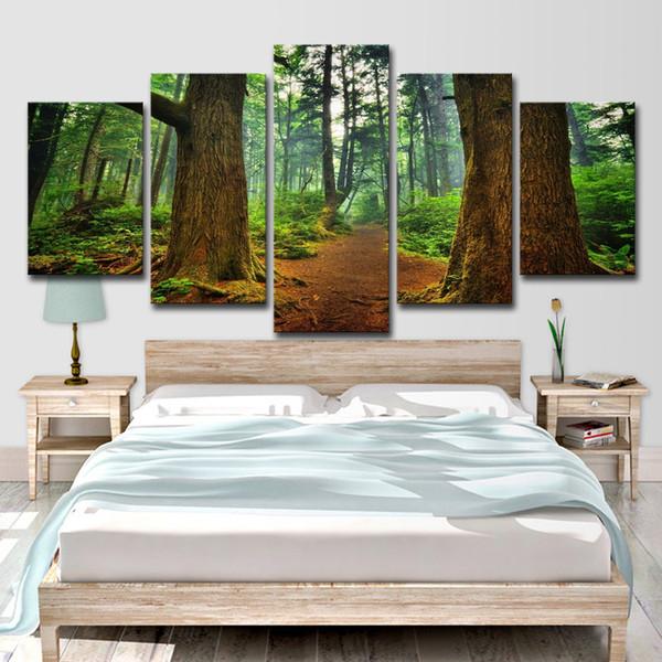Холст картины гостиная стены искусства HD печатает 5 шт. ствол лесных деревьев фотографии природные пейзажи плакат домашнего декора