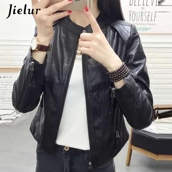 Chaqueta de cuero suave de imitación negra Abrigo de mujer Otoño Invierno Manga larga 2019 Nueva chaqueta corta de color sólido Slim Chic S-XL