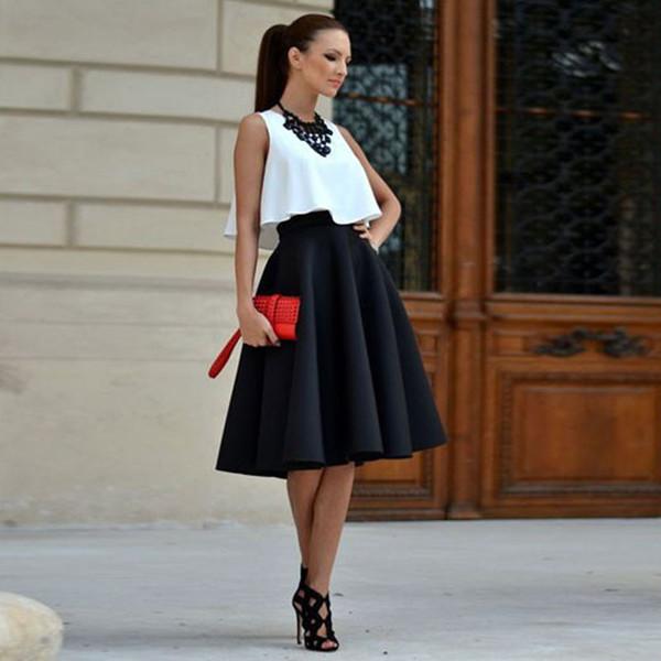 Yeni Kadın Modası Kısaca Yaz Casual Uzun Kollu Akşam Parti O-Boyun Kazak Beyaz Yelek Siyah Etek 2PCS Kıyafet Partiyi Tops