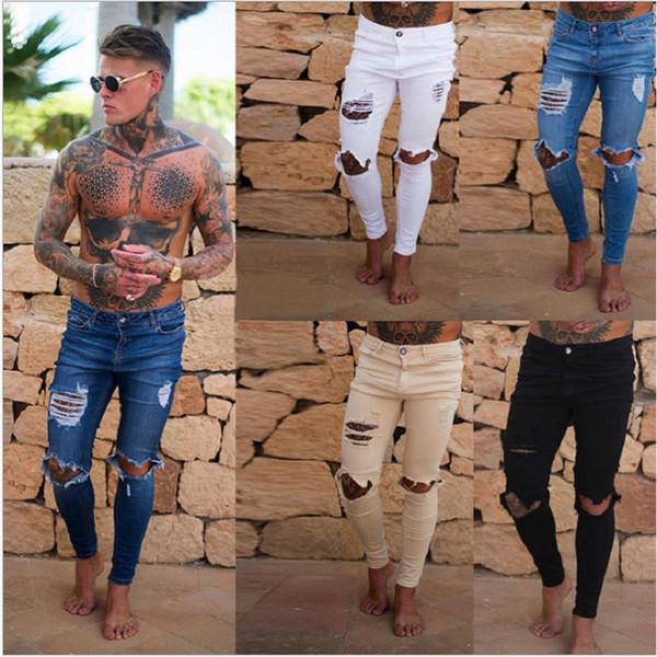 Trou Hommes Jeans Marque Pantalon Skinny Jeans 19ss Nouveau vente chaude Designer Hommes Hip Hop Pantalon Moto Slim Pantalon À Glissière Livraison Gratuite 1800-2